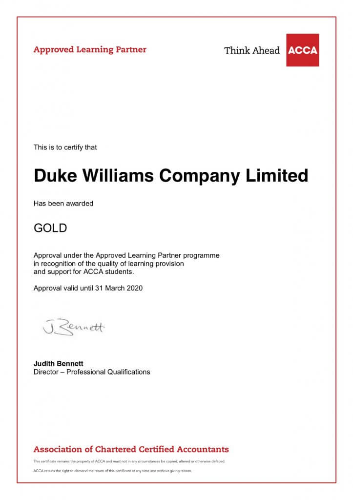 ACCA at DW – Duke Williams Ltd